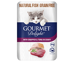 With Snapper & Tuna in Gravy 100g Pouch